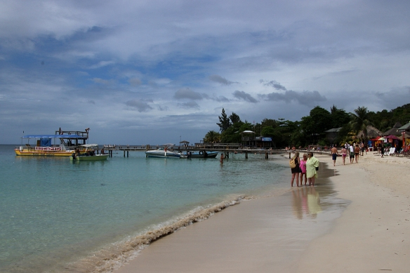 Excellent snorkeling at this beach on Roatan Island, 30 miles off the east coast of Honduras.
