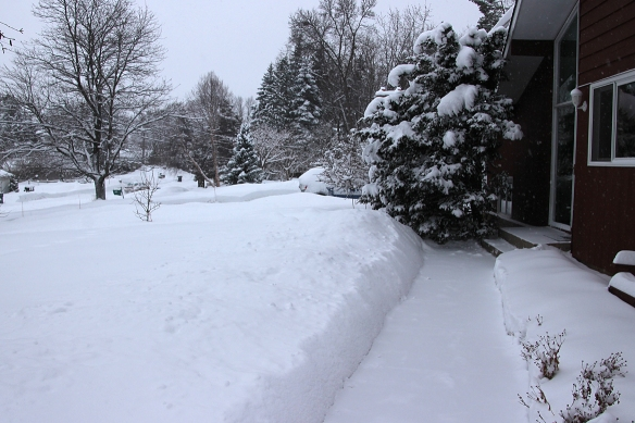 Just 8-10 inches can really add to the height of the snow banks over