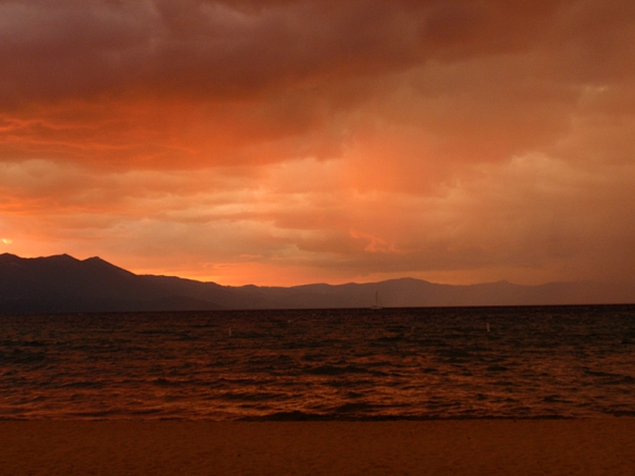red rain at sunset over Lake Tahoe