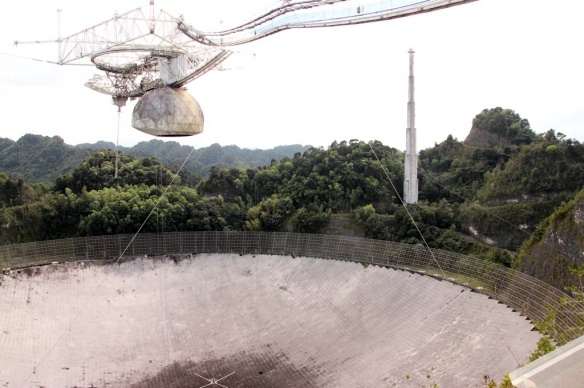 The spherical collector of the radio telescope is 1000 feet in diameter.  A special focusing