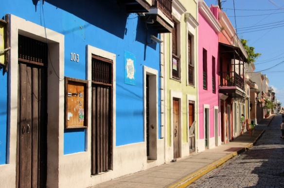 Pastel-colored houses line the narrow cobble-stone streets in old San Juan, P.R.
