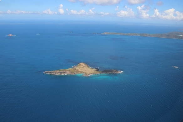 A tiny islet in the channel separating Puerto Rico and Culebra (seen in the distance).