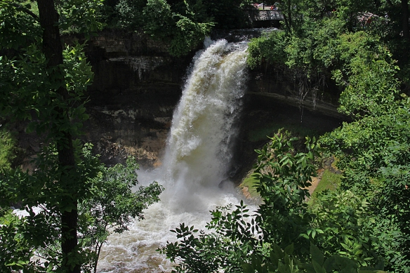 A high volume of water is also passing down the waterfall over Minnehaha creek
