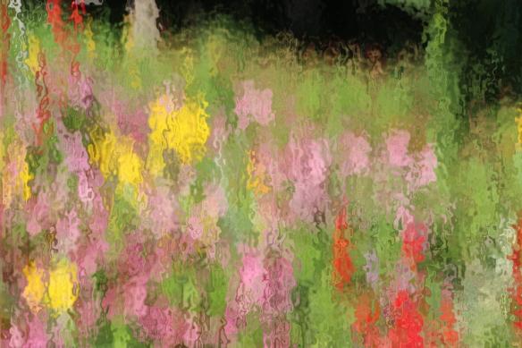 "wildflower garden by applying ""ocean ripple"" in Photoshop"