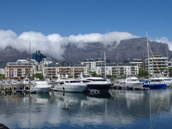 table mountain from the harbor in CapeTown