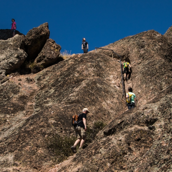 Climbing the staircase on the High Ridge Trail at Pinnacles NP