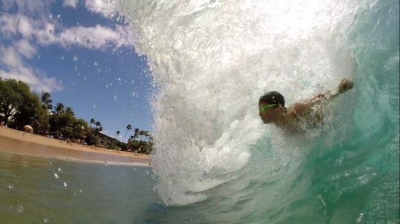Body surfer, Maui big waves