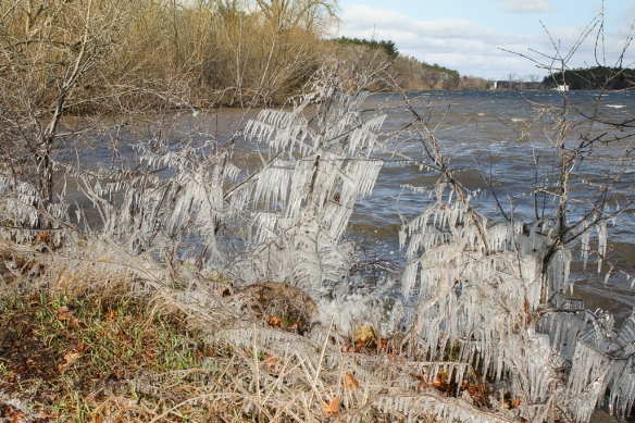 Gusty winds channeled the waves into a small bay on Lake Vadnais in St. Paul.