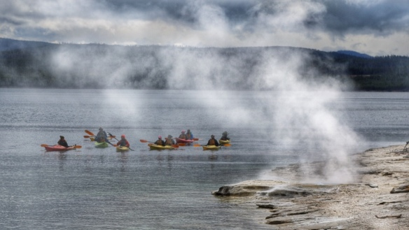 Kayakers on Yellowstone Lake