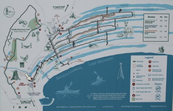 Map of The Ridges Sanctuary, Baileys Harbor, Door County, WI