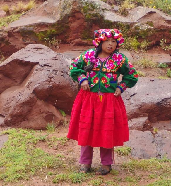 Aymara girl, near Puno, Peru