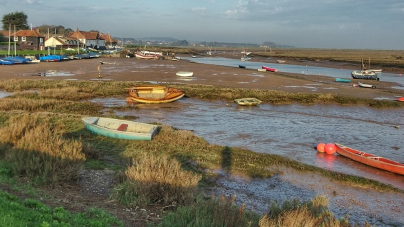 Norfolk coast at Burnham Overy Staithe at low tide