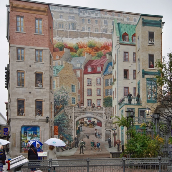 Wall frescoes on buildings in Quebec City