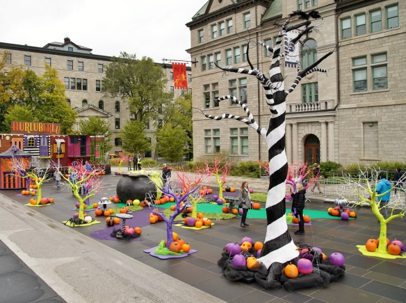 Halloween decorations in Quebec City