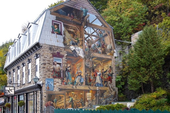 Wall murals on buildings in Quebec City