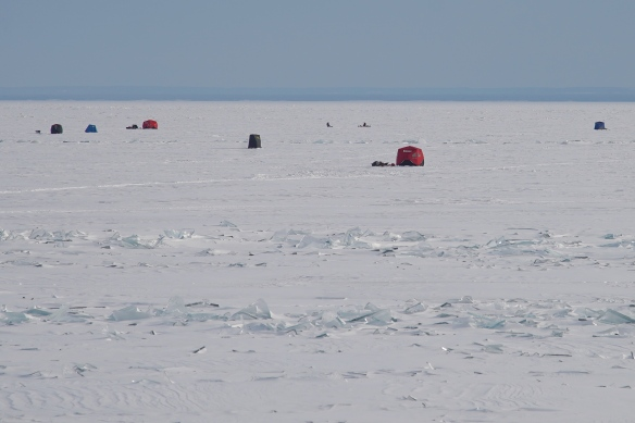 Ice houses on Lake Superior in Duluth